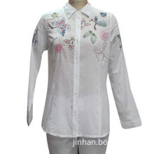 Ladies' solid cotton voile shirt with embroidery and printingNew